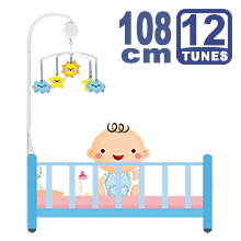 108CM High Baby Crib Bed Bell Toys Holder Arm Bracket, 2 Nut Screws, W/ Electrical Music Box (12 Tunes)